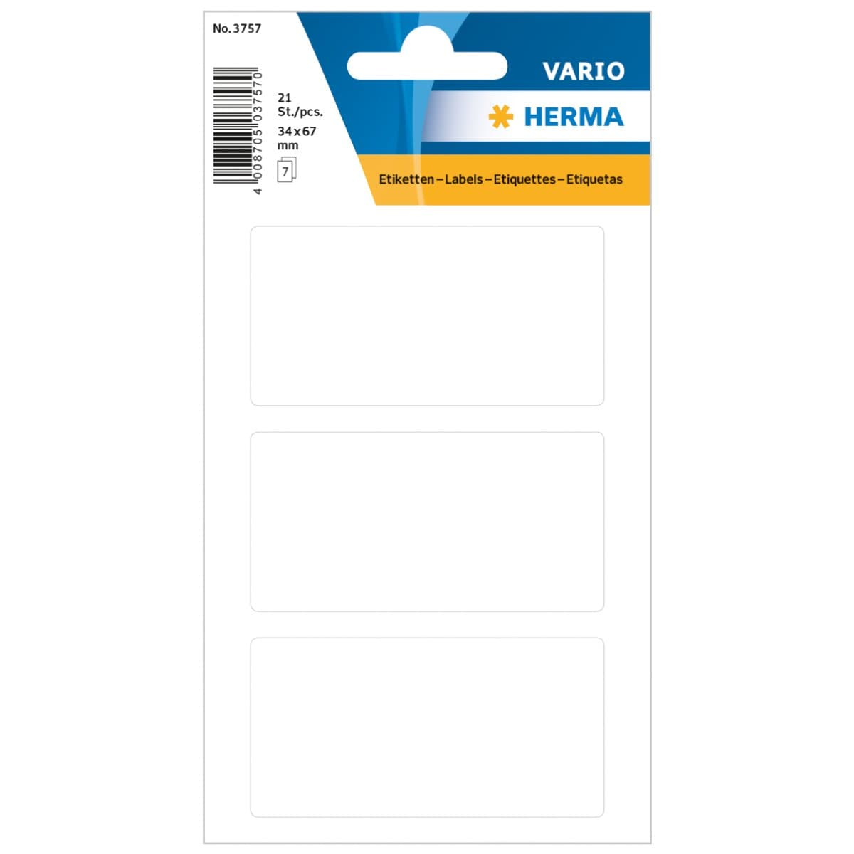 Herma Vario Sticker Labels, 34 x 67 mm, 21/pack, White