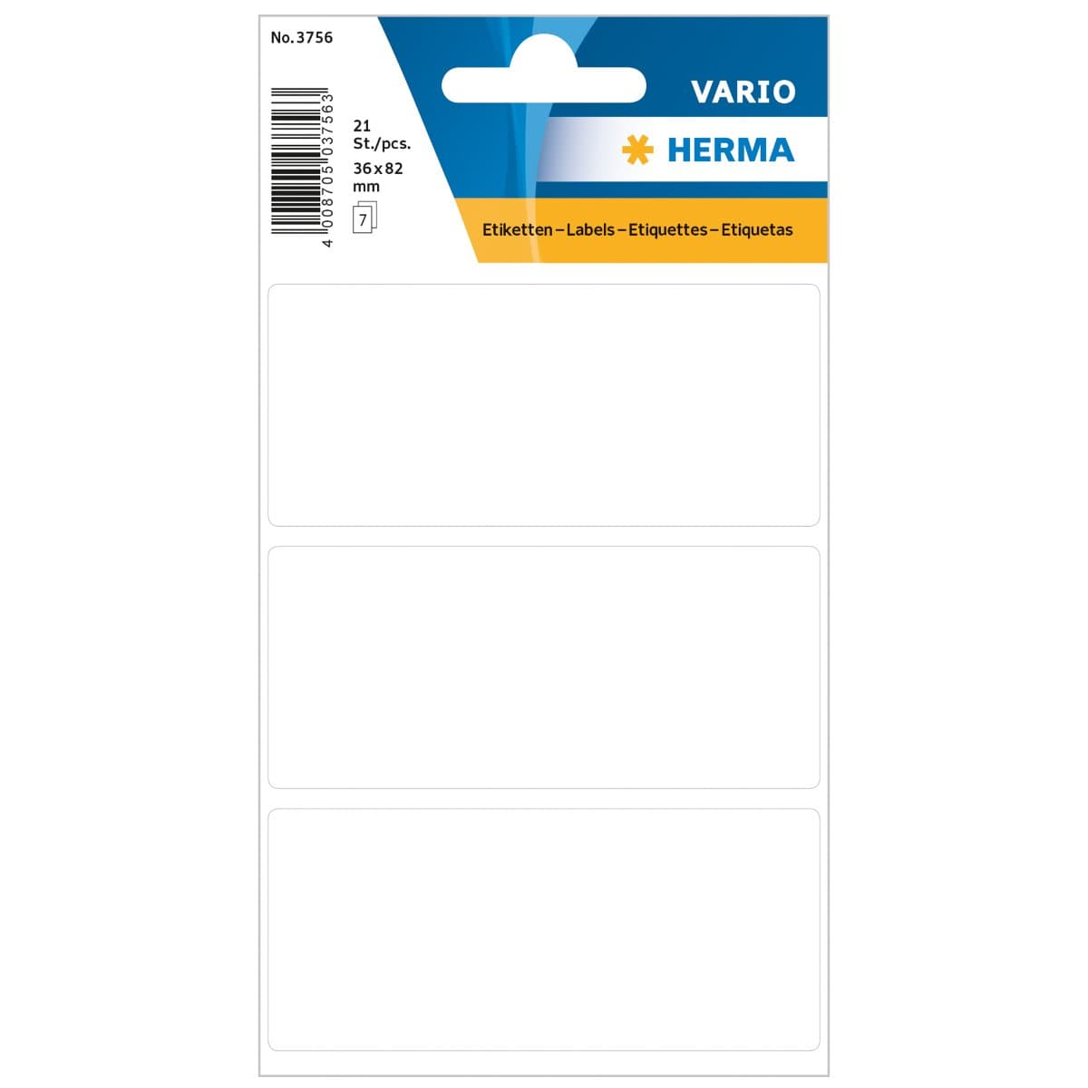 Herma Vario Sticker Labels, 36 x 82 mm, 21/pack, White