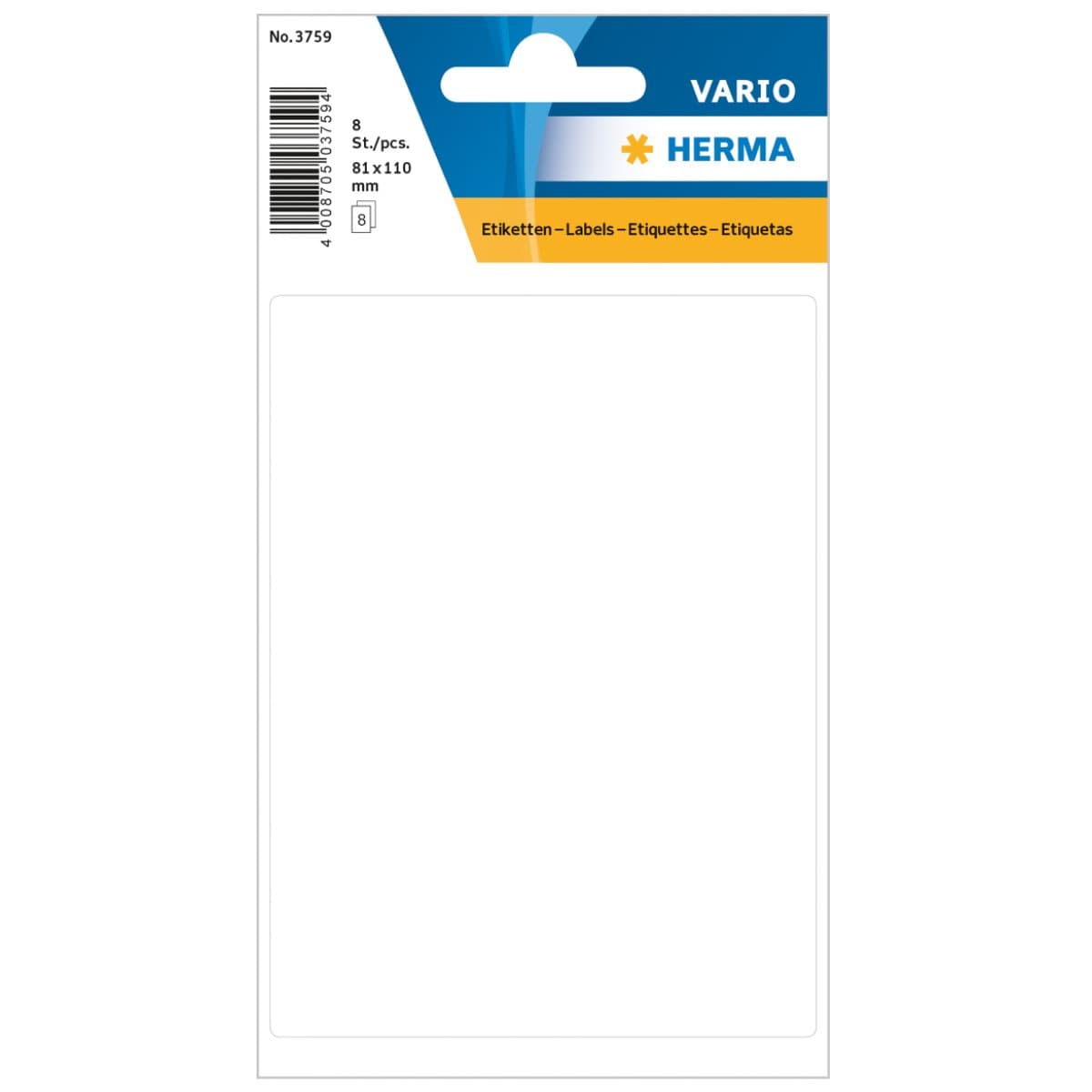 Herma Vario Sticker Labels, 81 x 110 mm, 8/pack, White