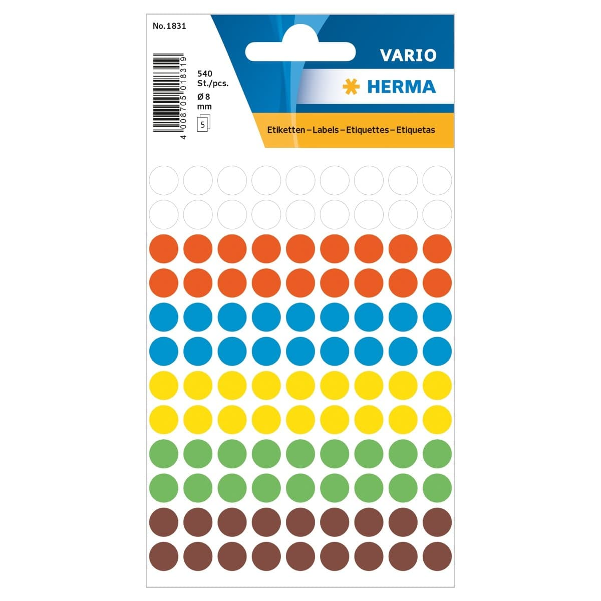Herma Vario Sticker Color Dots, 8 mm, 540/pack, Assorted Colors