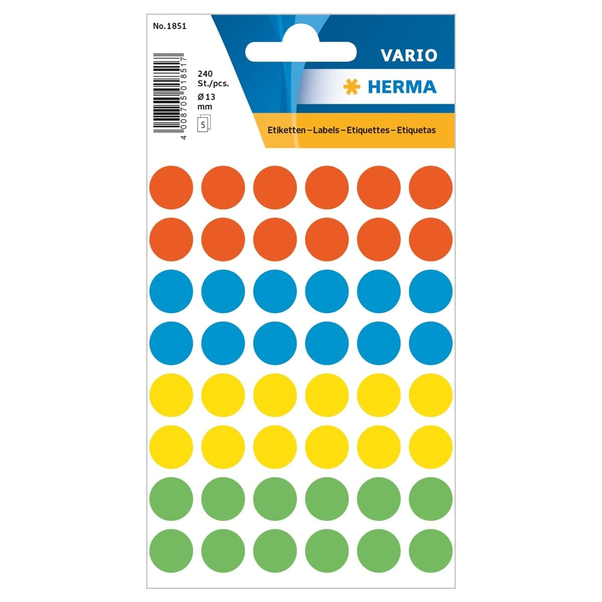 Herma Vario Sticker Color Dots, 13 mm, 240/pack, Assorted Colors