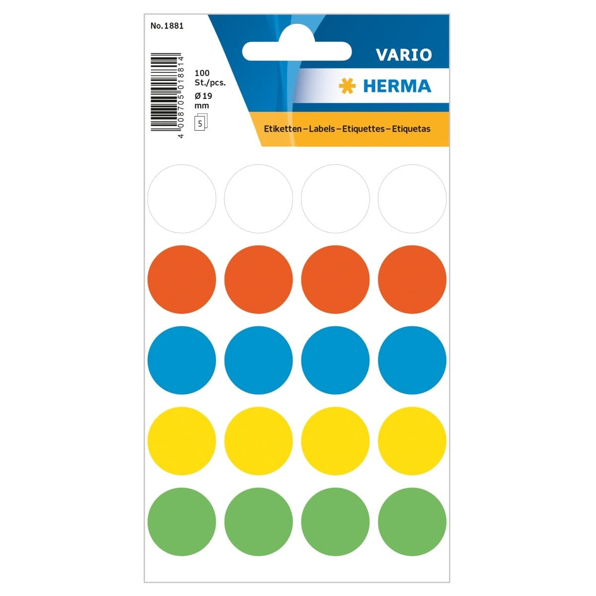 Herma Vario Sticker Color Dots, 19 mm, 100/pack, Assorted Colors