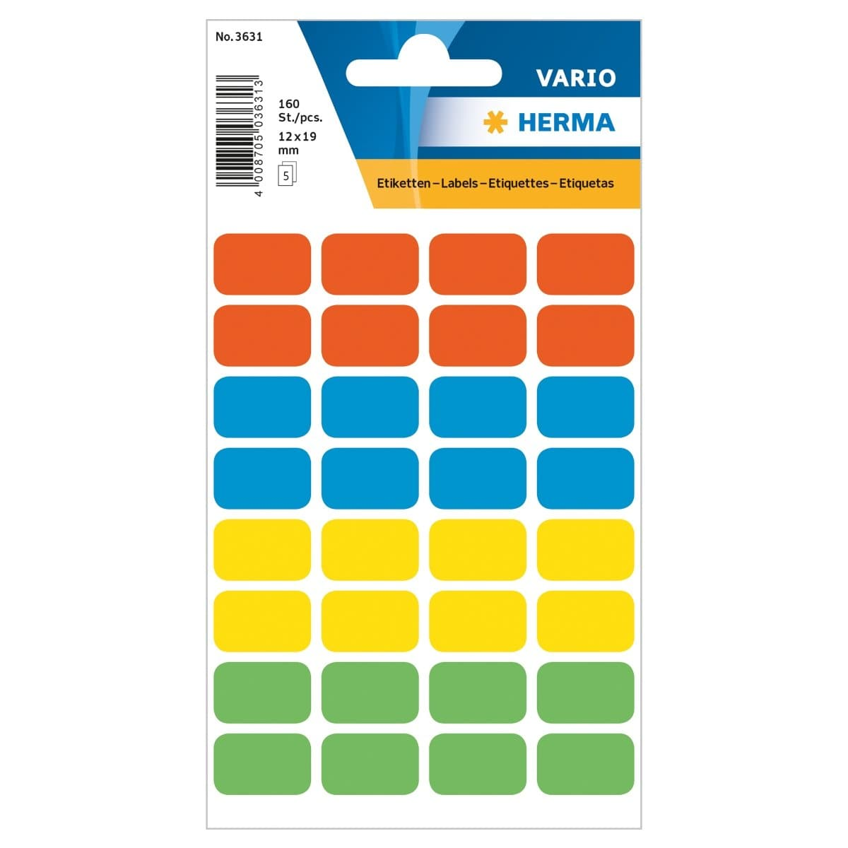 Herma Vario Sticker Labels, 12 x 19 mm, 160/pack, Assorted Colors