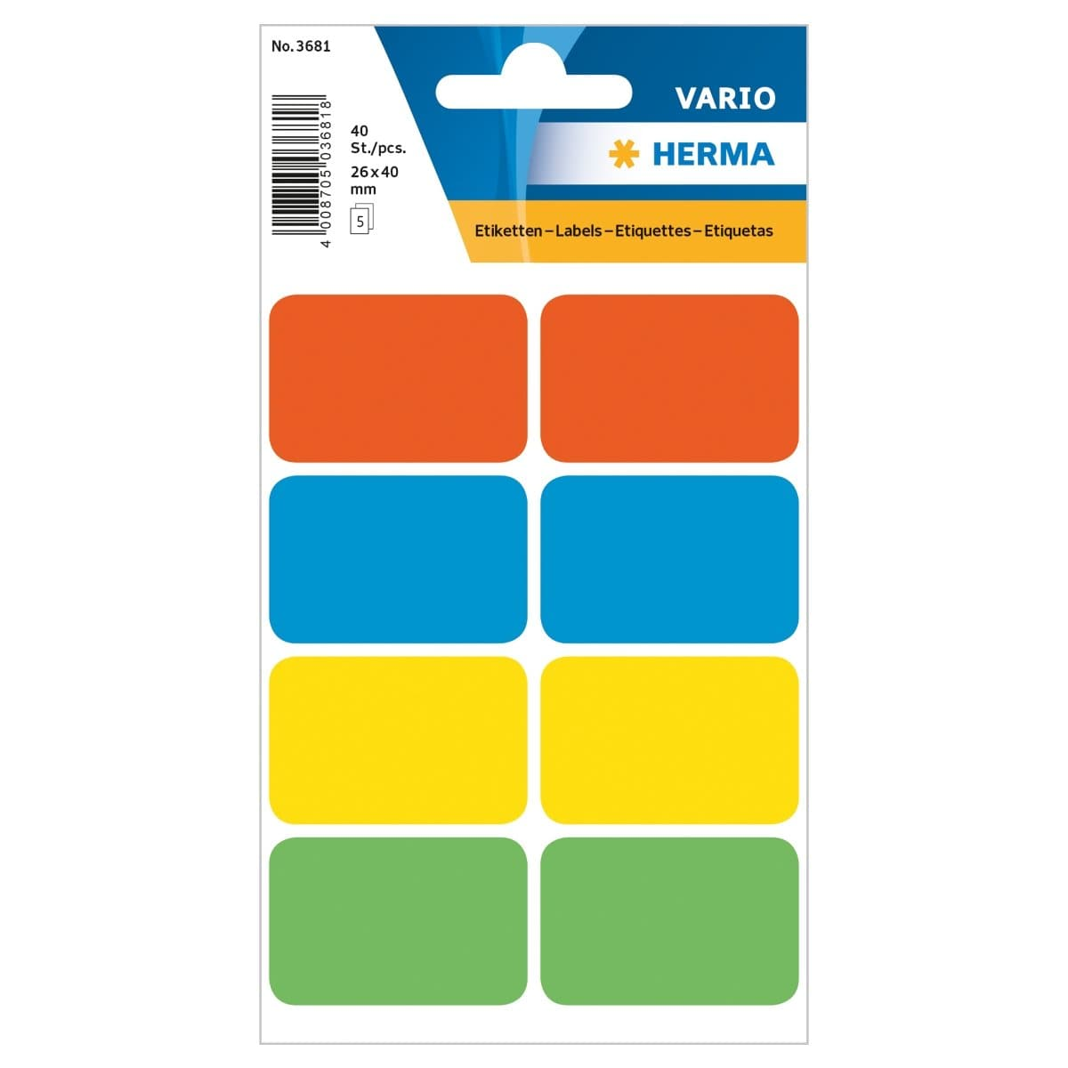 Herma Vario Sticker Labels, 26 x 40 mm, 40/pack, Assorted Colors