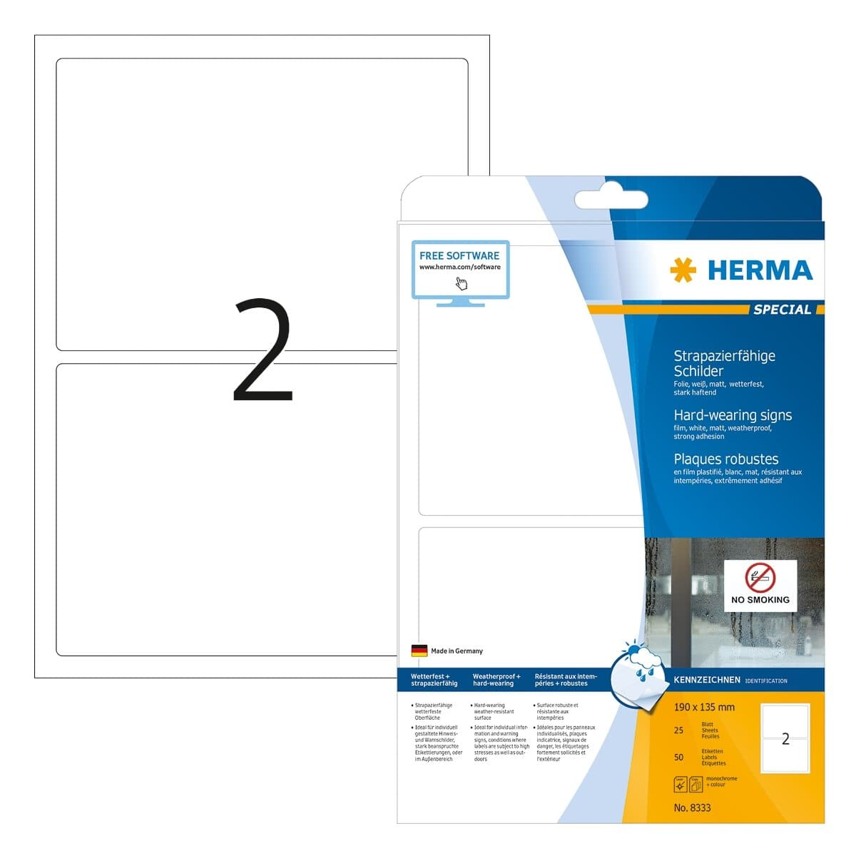 Herma Weatherproof Polyester Film, Hard-wearing Label, 190 x 135 mm, 50/pack, White