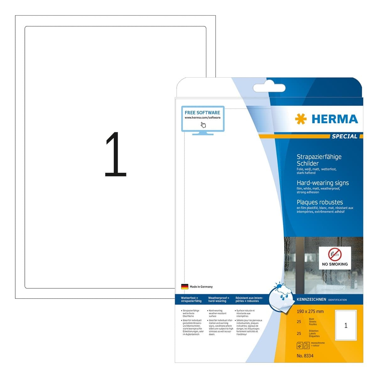 Herma Weatherproof Polyester Film, Hard-wearing Label, 190 x 275 mm, 25/pack, White