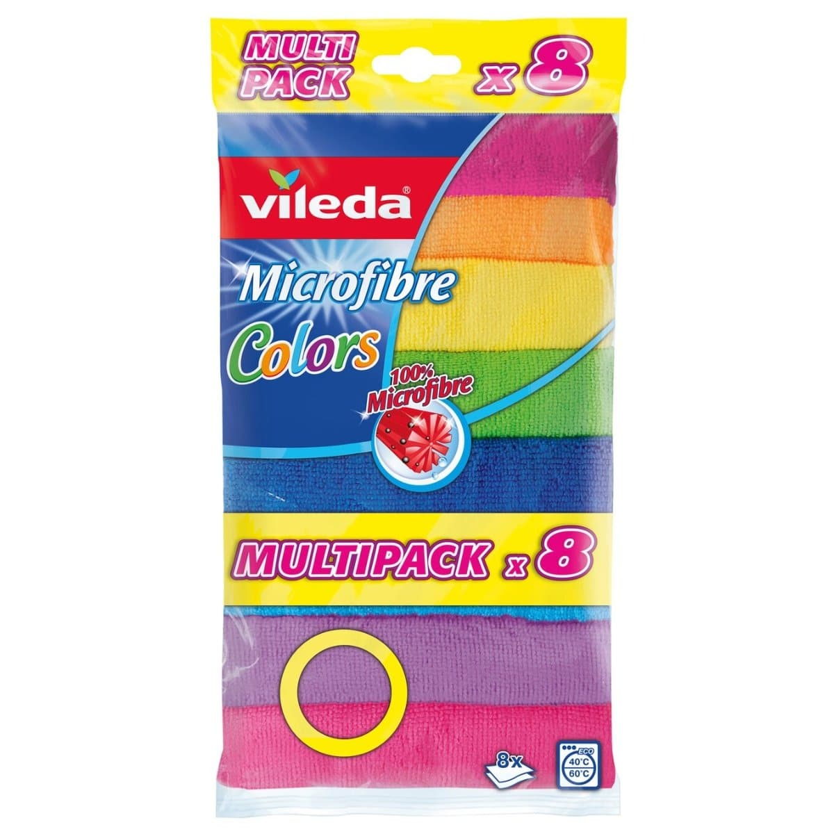 Vileda Microfibre Cloth, 30 x 30 cm, 8/pack, assorted colors