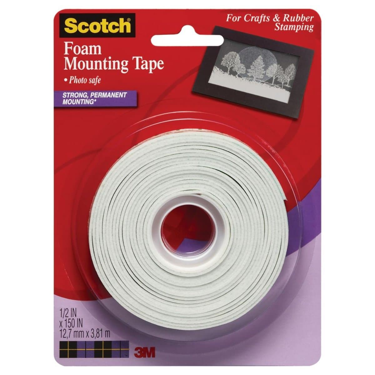 3M Scotch Mounting Tape 150, Permanent, 1/2 x 150 inches