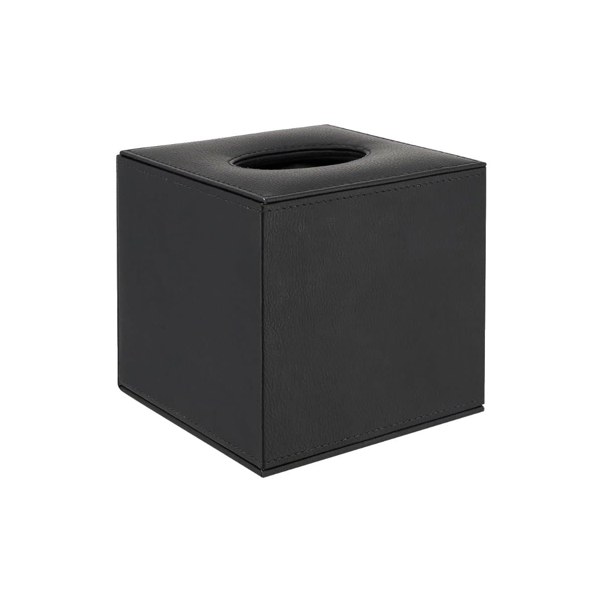 Konrad S. Tissue Box Cover, cube 13 x 13 x 13cm, PU Leather, Black