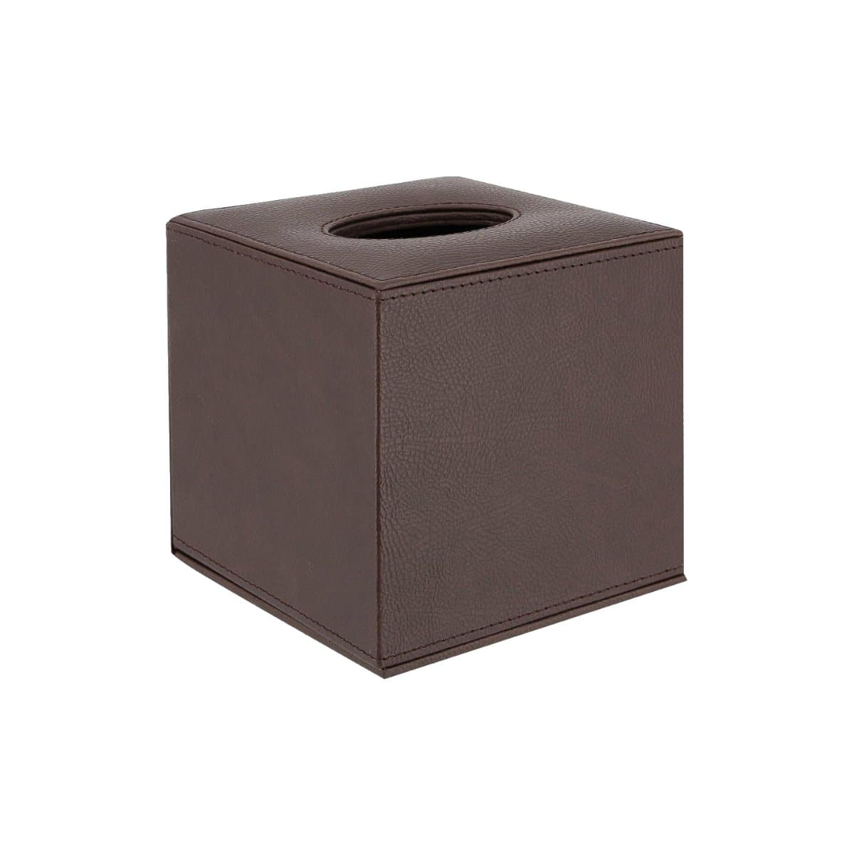 Konrad S. Tissue Box Cube, 13 x 13 x 13cm, PU Leather, Brown