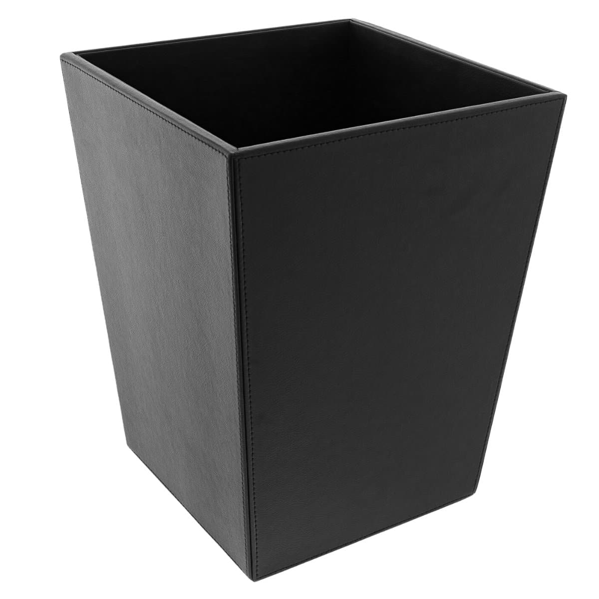 Konrad S. Waste Bin Square, 25 x 25 x H33 cm, PU Leather, Black