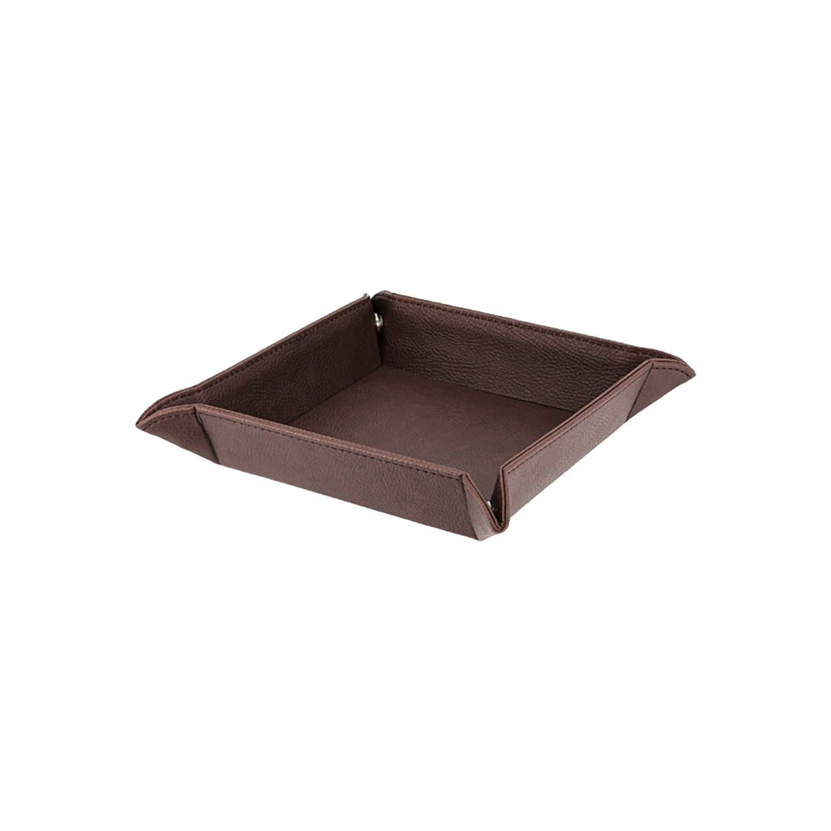 Konrad S. Coin Tidy Tray, 14 x 14 x 4cm, PU Leather, Brown