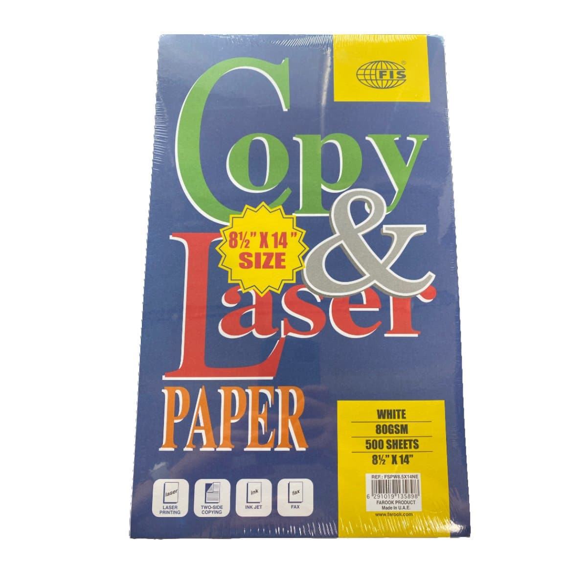 FIS Paper US legal, 216×356mm, 8.5x14 inches, 80gsm, 500sheets/pack, White
