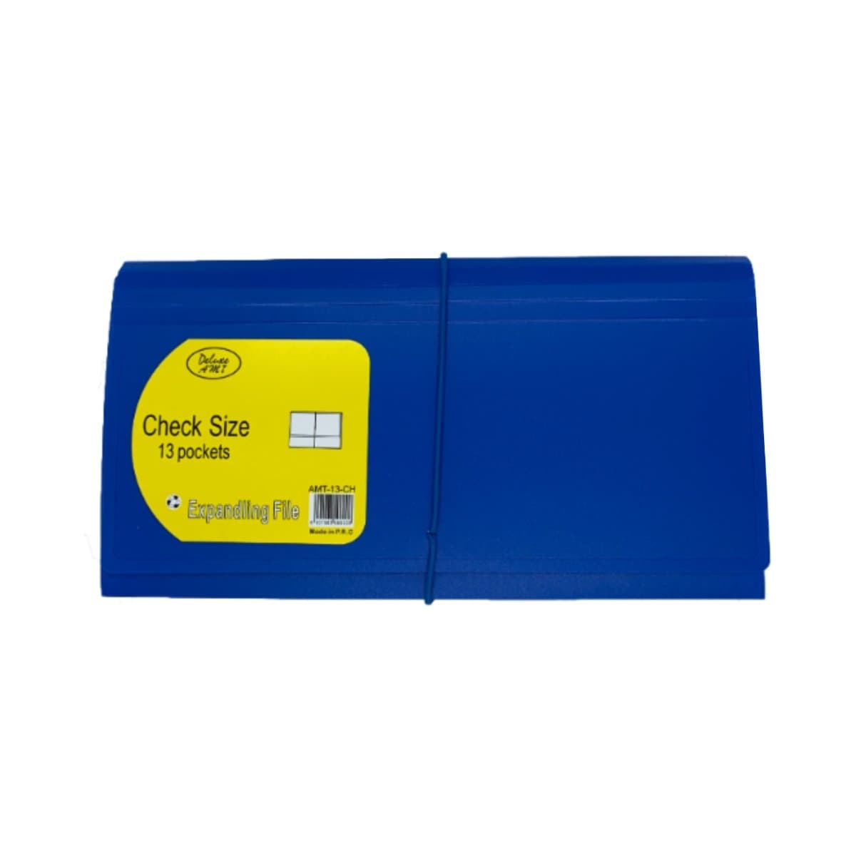 Deluxe Cheque Expanding File with elastic fastener, 13 Pockets, Blue