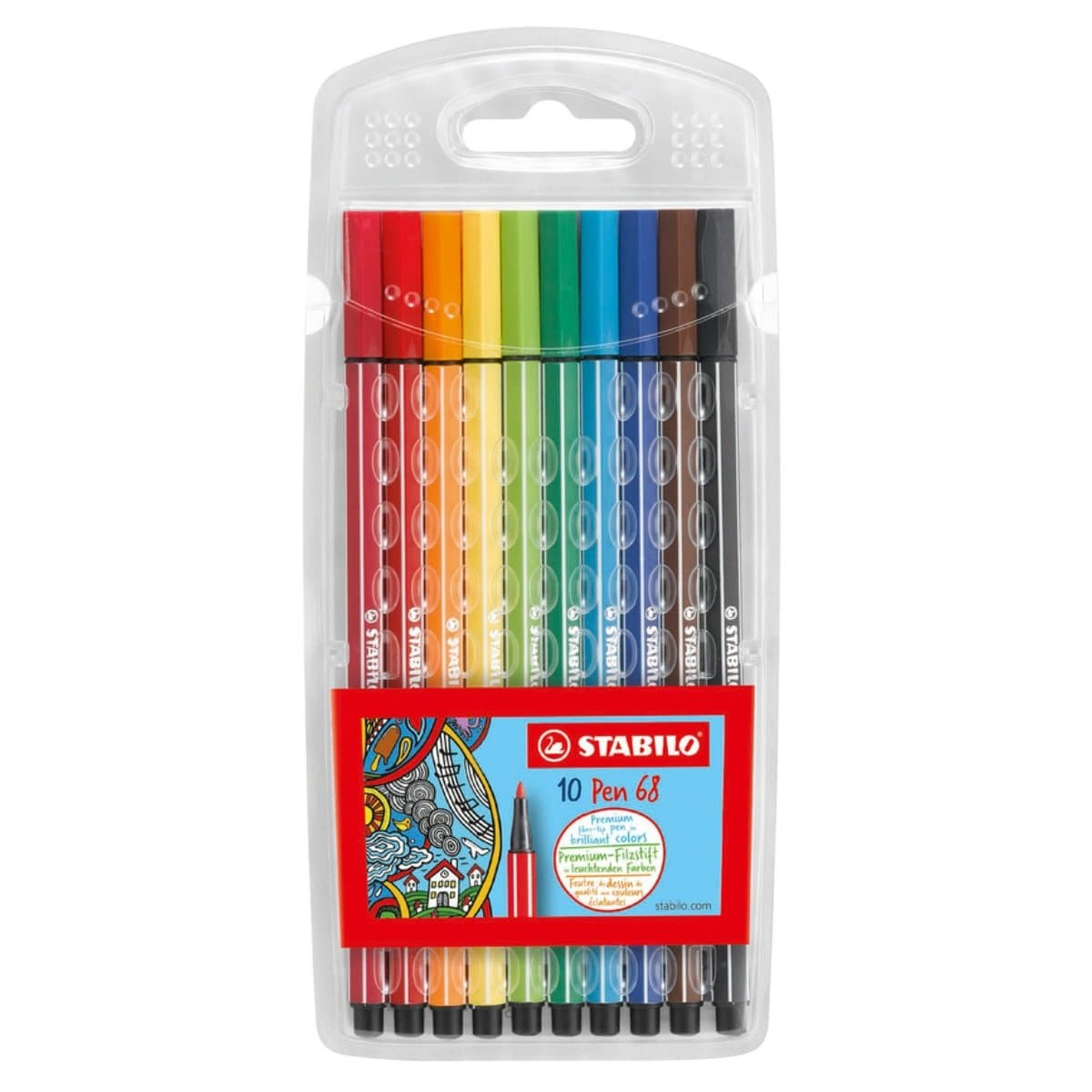 Stabilo Pen 68 Color Fibre-Tip Pen, 1mm, 10/pack