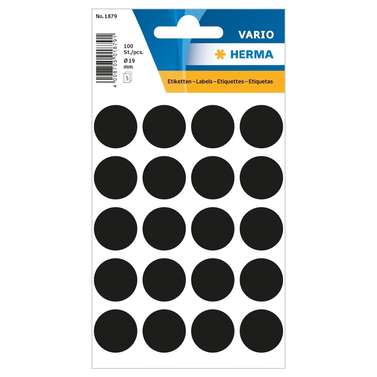 Herma Vario Sticker Color Dots, 19 mm, 100/pack, Black