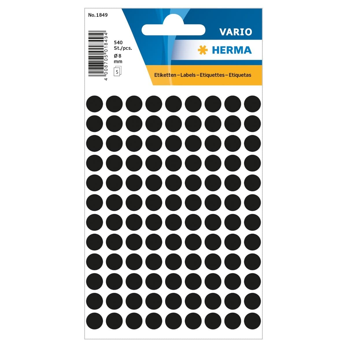 Herma Vario Sticker Color Dots, 8 mm, 540/pack, Black