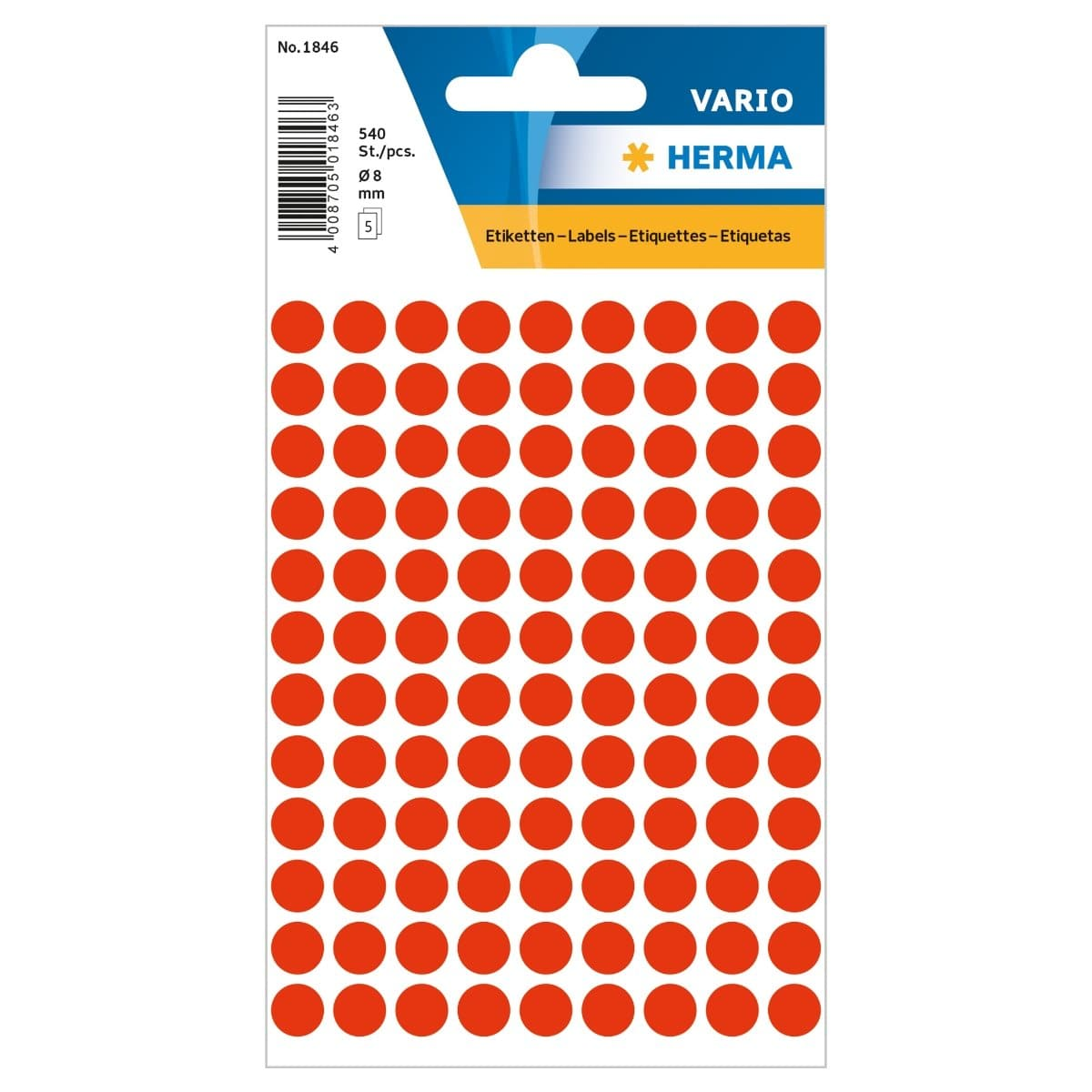 Herma Vario Sticker Color Dots, 8 mm, 540/pack, Fluo Red