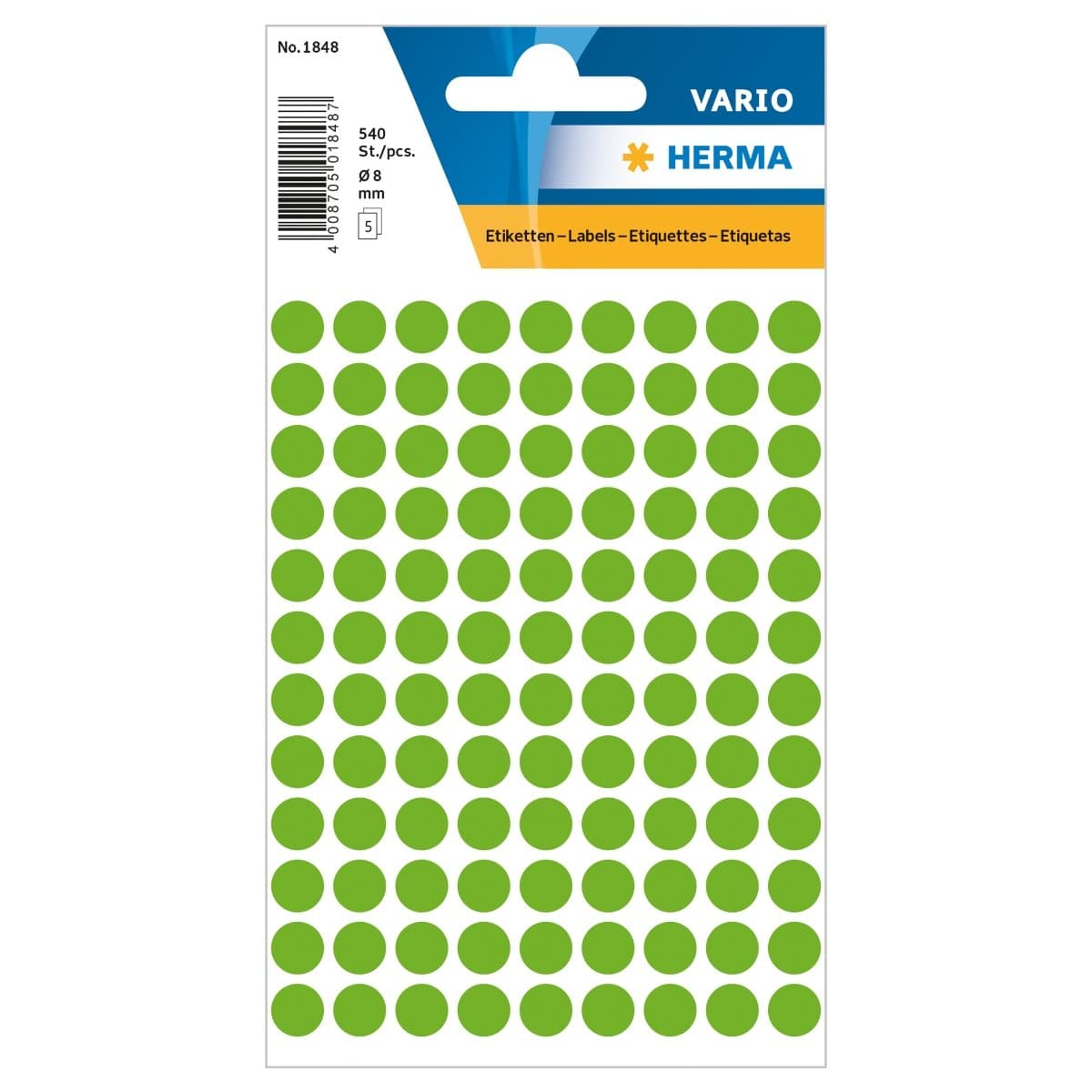 Herma Vario Sticker Color Dots, 8 mm, 540/pack, Fluo Green