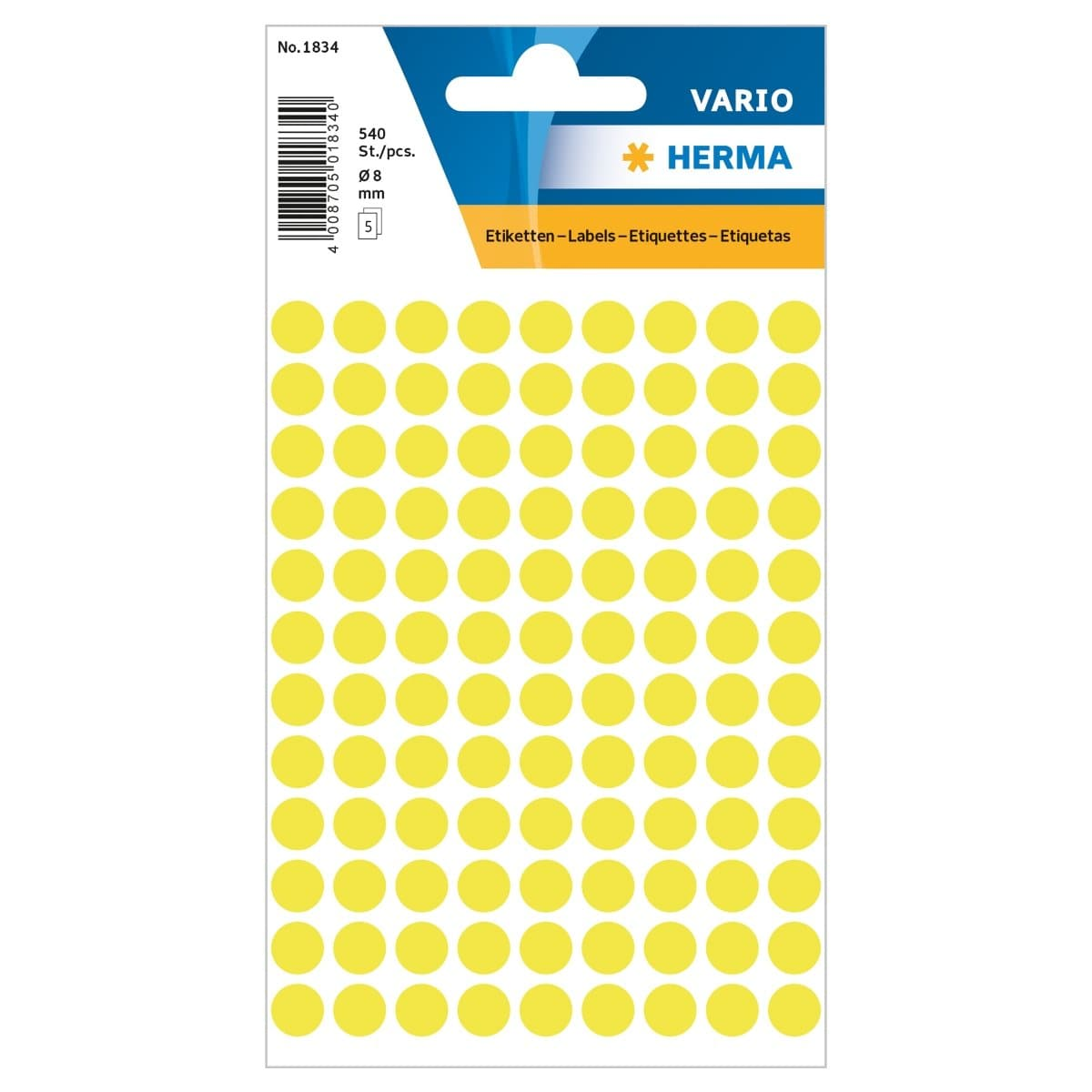 Herma Vario Sticker Color Dots, 8 mm, 540/pack, Fluo Yellow