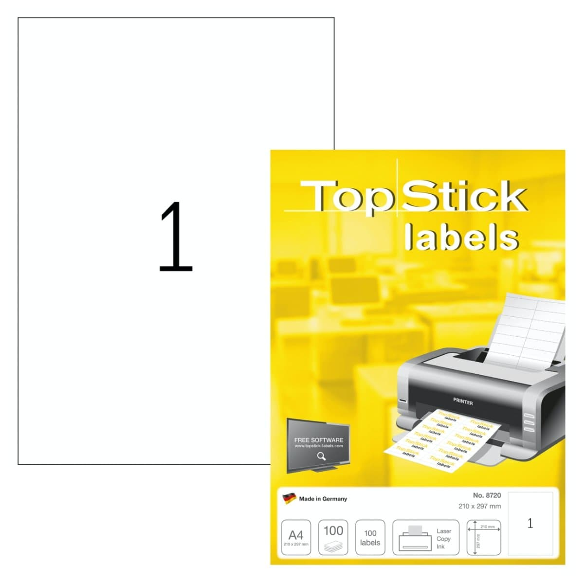 TopStick labels 1 label/sheet, sharp corners, A4 210 x 297 mm, 100sheets/pack, White