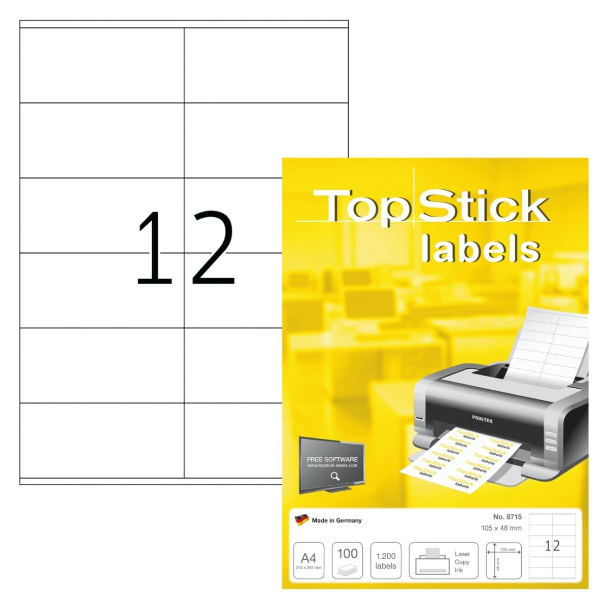 TopStick labels 12 labels/sheet, sharp corners, 105 x 48 mm, 100sheets/pack, White