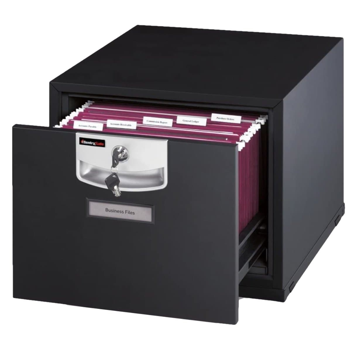 Sentry U2101 Fire-Resistant Stackable Filing Cabinet, Key Lock, Black