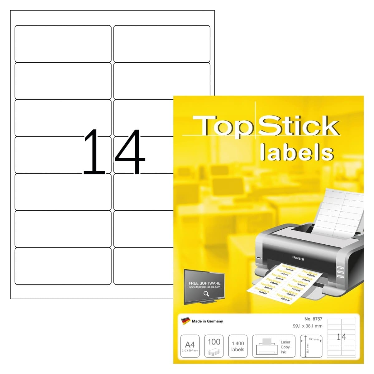 TopStick labels 14 labels/sheet, round corners, 99.1 x 38.1 mm, 100sheets/pack, White