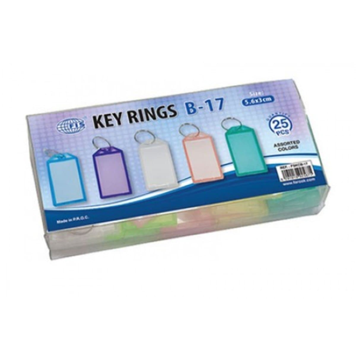 FIS Plastic Key Tags with Ring B-17, Assorted Colors, 25/pack
