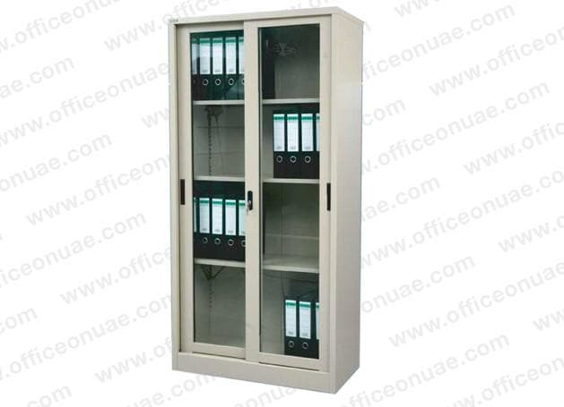 Rexel Filing Cupboard, 185x90.1x44.5 cm, Sliding Glass Door, Off-White