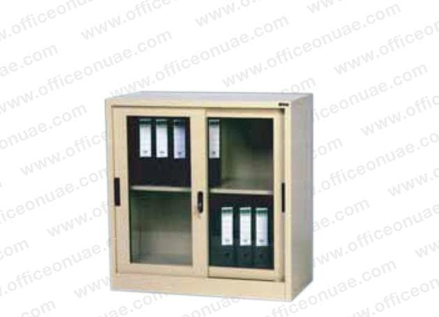 Rexel Filing Cupboard, 94x90x45.5 cm, Sliding Glass Door, Off-White