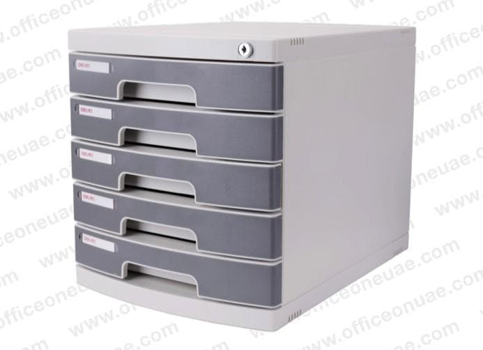 DELI 5 Drawer Cabinet with Lock, Grey