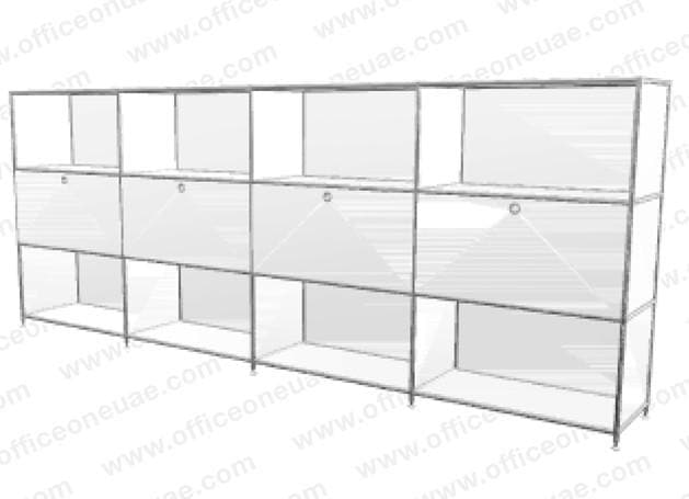 SYSTEM4 Roomdevider with Hatches, 303 x 118 x 40 cm, White