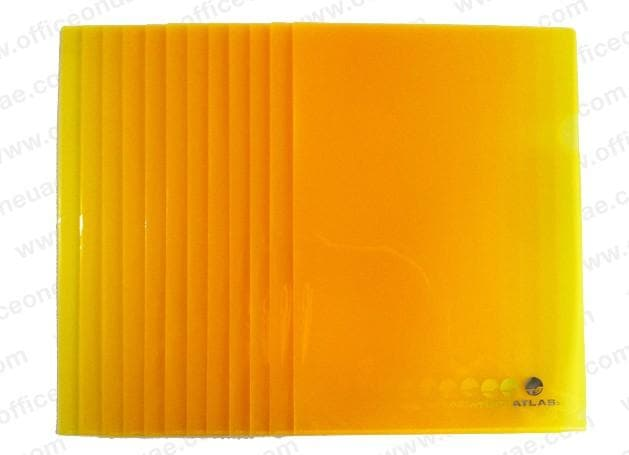 Atlas Clear L Folder A4, 12/pack, Yellow