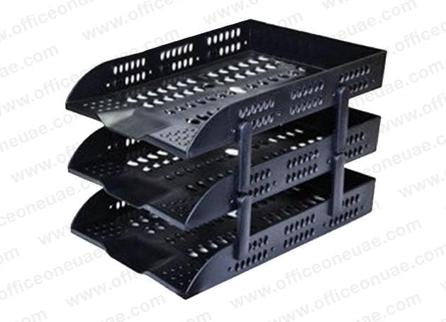 DELI 3 Tier Plastic Document Tray Black