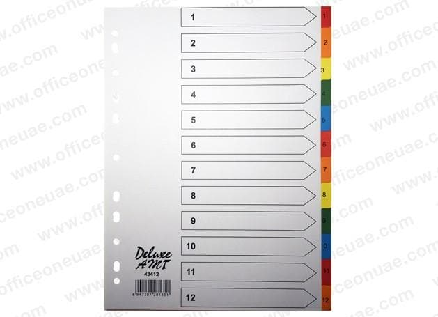 Deluxe Divider Manila Colored A4 with numbers 1-12