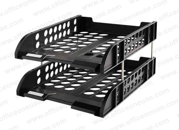 DELI 2 Tier Plastic Document Tray Black - 9216BK