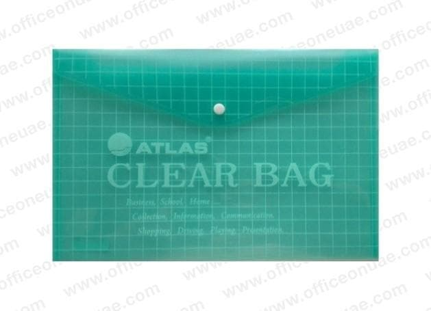 Atlas Document Bag 'My Clear Bag' F/S, 12/pack, Green