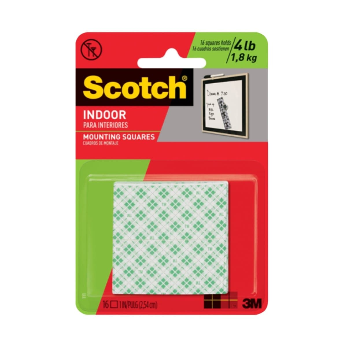 3M Scotch Mounting Squares 111, 1 x 1 inch, 16/pack