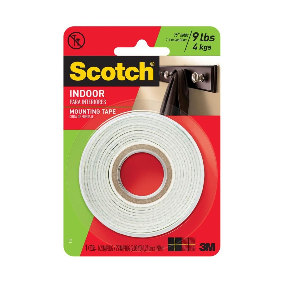 3M Scotch Mounting Tape 110, Indoor, 1/2 x 75 inches