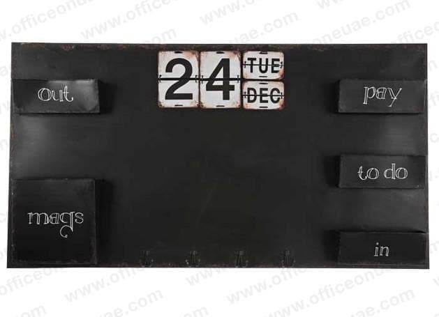 CAPTIVA Metal Black Board with Calendar and Trays, 122 x 66 cm