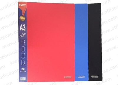 Partner Clear Book A3,  20 Pockets, Assorted Colors