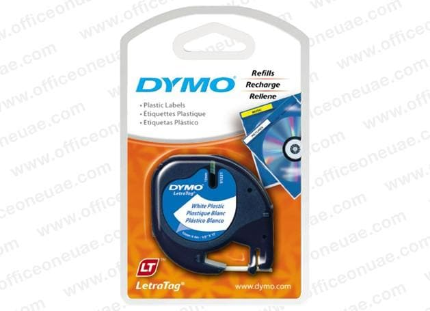 Dymo LT Plastic Labels, 12 mm x 4 m, White - 91201