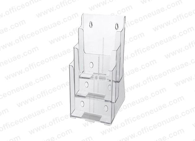 Acrylic Brochure Holder Table/Wall Mount, 3 Tier, DL 100 x 210 mm