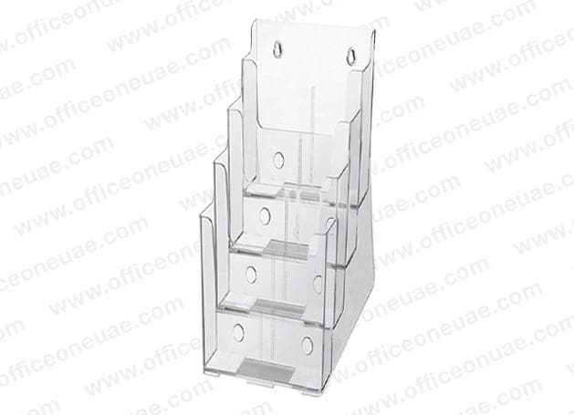 Acrylic Brochure Holder Table/Wall Mount, 4 Tier, DL 100 x 210 mm