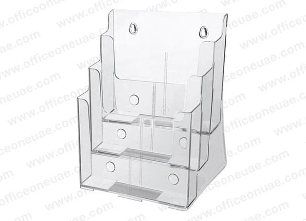 Acrylic Brochure Holder Table/Wall Mount, 3 Tier,  A4 210 x 297 mm