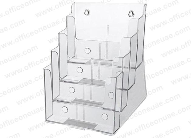 Acrylic Brochure Holder Table/Wall Mount, 4 Tier, A4 210 x 297 mm