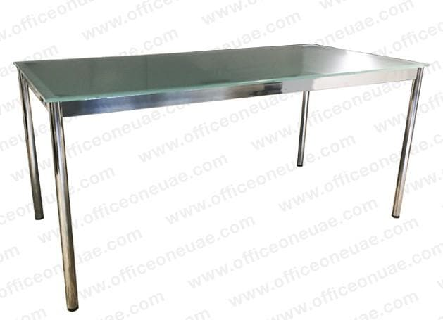 System4 Desk 160 x 80 cm, Chrome Base, Tabletop Glass Satin