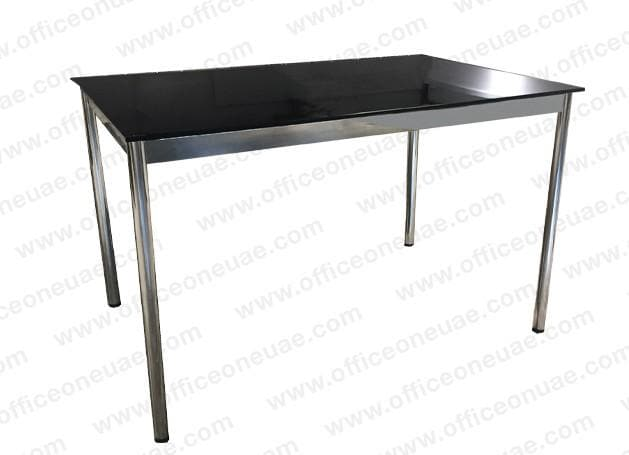 System4 Desk 120 x 80 cm, Chrome Base, Tabletop Glass Black