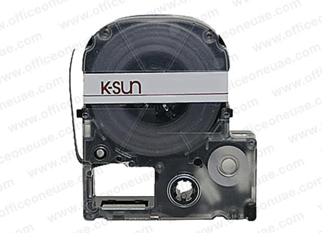 K-Sun LABELShop 9mm 209BC Tape, Black on Clear, 3/8 in